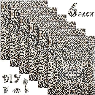 6 Sheets Leopard Print Vinyl 12 Inch by 10 Inch Iron on Heat Transfer Vinyl Leopard Patterned Heat Transfer Vinyl Leopard ...