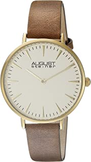 August Steiner Women's Minimalist Dress Watch - Case on Dial with Distressed Genuine Leather Skinny Strap