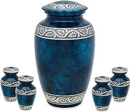Middleton Blue Adult Urn with 4 matching keepsake token urns