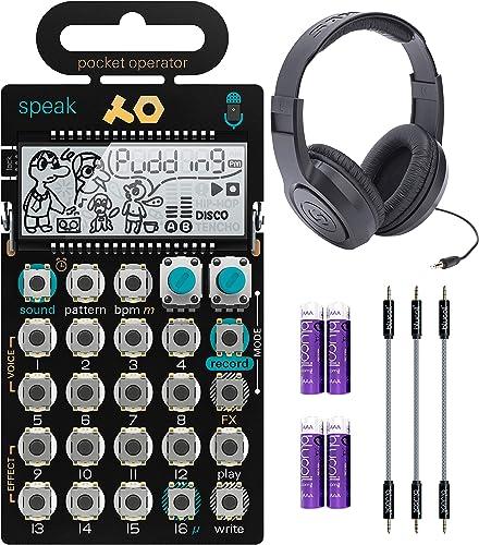 "2021 Teenage Engineering PO-35 Pocket Operator Speak Vocal Sampler/Sequencer Bundle with Samson SR350 Over-Ear Stereo Headphones, Blucoil outlet online sale 3-Pack of 7"" Audio Aux Cables, and 4 AAA lowest Batteries outlet online sale"