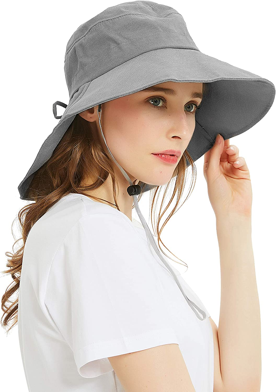 Women's Wide Brim Sun Hat, Sun Predection Bucket Boonie Cap for Beach Fishing Safari