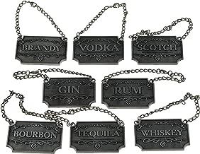 Decanter Tags (Set of 8) Rustic Silver Liquor Decanter Labels - Whiskey, Bourbon, Scotch, Gin, Rum, Vodka, Tequila & Brandy - Liquor Bottle Tags w/Adjustable Chain Fits Most Liquor Bottles - 8 Labels