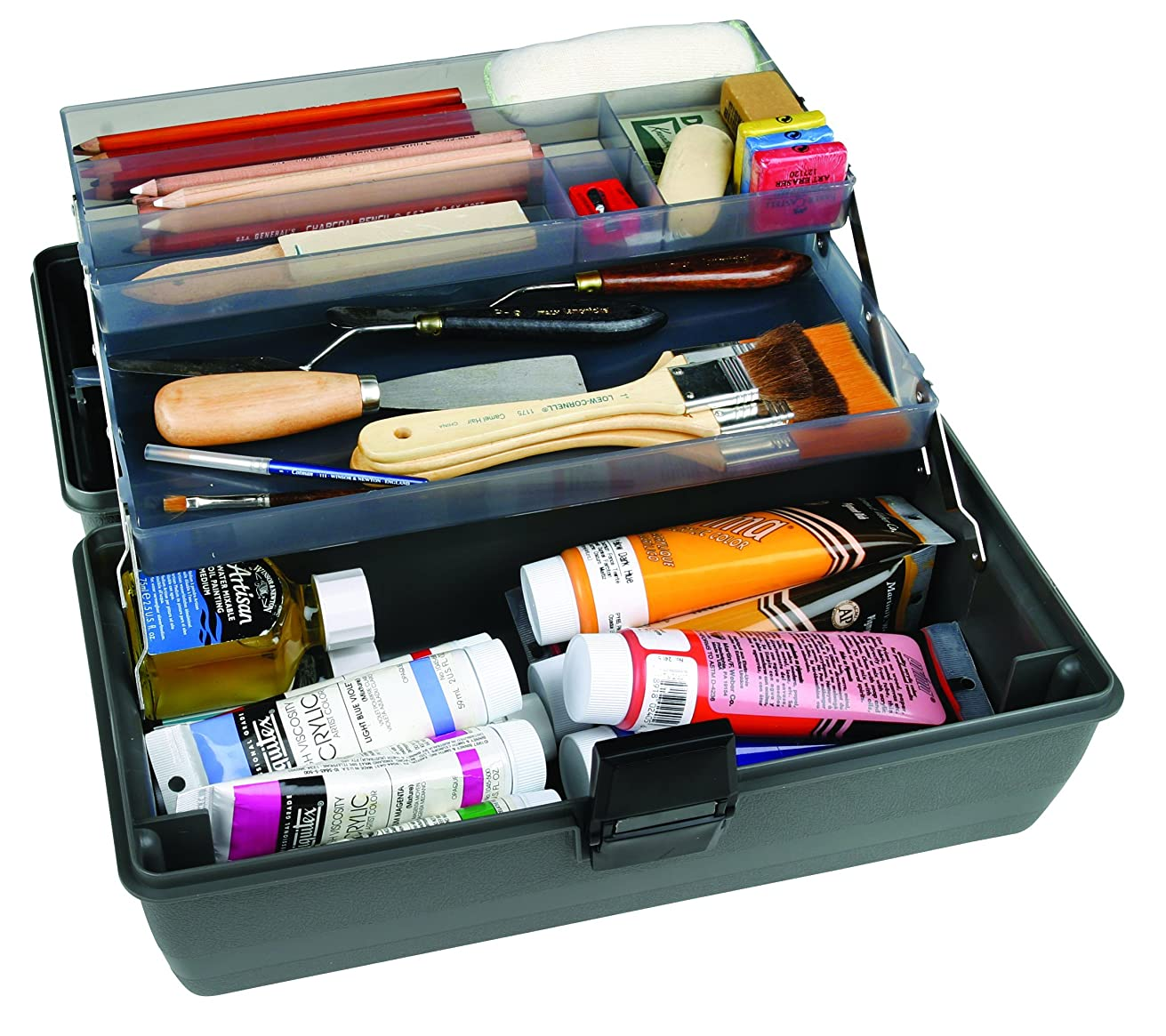 ArtBin Upscale  2-Tray Tool Box with Metal Links- Slate Gray Art Supply Container, 8399