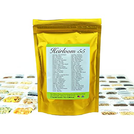 Heirloom Futures Seed Pack with 55 Varieties of Vegetable Seeds. 100% Non GMO Open Pollinated Non-Hybrid Naturally Grown Premium USA Seed Stock for All Gardeners.