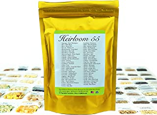 Heirloom Seed Bank with 55 Varieties of Vegetable Seeds by Heirloom Futures. 100% Non GMO Open Pollinated Non-Hybrid Naturally Grown Premium USA Seed Stock for All Gardeners.