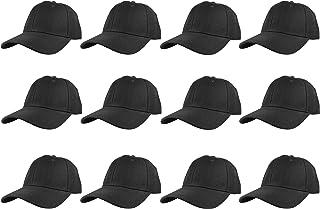 قبعات بيسبول سادة سادة بحزام خلفي قابل للتعديل مجموعة الجملة 12 قطعة - أسود -