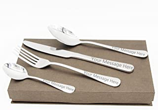 Custom Adult Fork Spoon Knife Add Your Own Custom Name or Message or Photo on Your Personalized Fork Knife Spoon Flatware Set Cutlery Sets By Yongcunusa (4PCS)