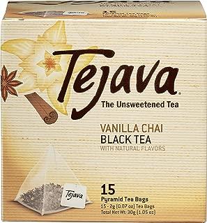 Tejava Vanilla Chai Black Tea Bags, 15 Tea Bags Per Box, Award-Winning Tea, Unsweetened, Individually Packaged Pyramid Bags, 100% Natural, Single Box