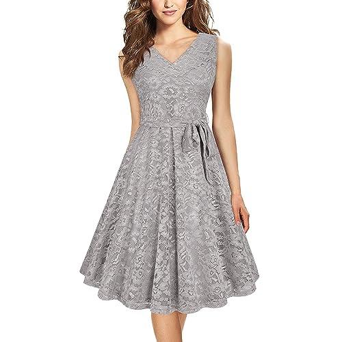 Sleeveless Knee Length Dress in Grey