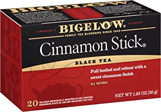 Bigelow Cinnamon Stick Black Tea Bags 20-Count Boxes (Pack of 6), 120 Tea Bags Total. Caffeinated Individual Black Tea Bags, for Hot Tea or Iced Tea, Drink Plain or Sweetened with Honey or Sugar