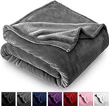 Bare Home Microplush Velvet Fleece Blanket - Throw/Travel - Ultra-Soft - Luxurious Fuzzy Fleece Fur - Cozy Lightweight - Easy Care - All Season Premium Bed Blanket (Throw/Travel, Grey)