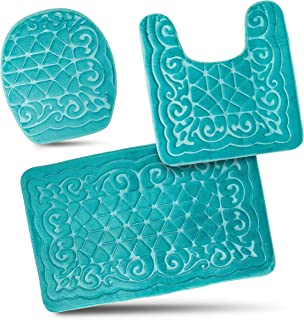 Bathroom Rug Mats Set 3 Piece - Memory Foam Extra Soft Shower Bath Rugs – Contour Mat and Lid Cover - Perfect Combination of Luxury and Comfort - Aqua Teal/Designs