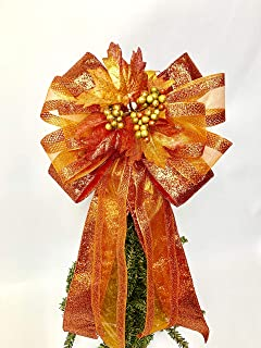 Fall Lantern bow, Fall Leaf Front door Large Bow, Burnt Orange Wreath Bows, Gift Bow, Large wreath bow