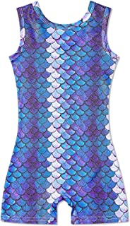 Leapparel Gymnastics Leotards for Girls Dance Ballet with Short One-Piece Rompers Unitard Sparkly Biketard for 3-7T
