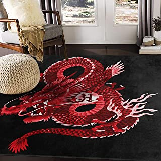 ALAZA Japanese Red Dragon Area Rug Rugs for Living Room Bedroom 5'3