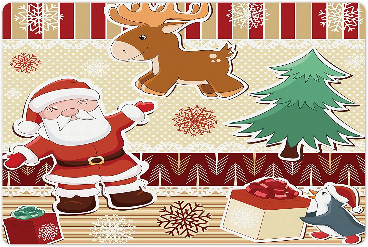 Lunarable Christmas Pet Mat for Food Santa Water with Year-end gift and Reind Fashion