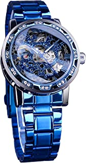 Winner Retro Steampunk Skeleton Blue Diamond Royal Carving Men's Watch Elegant Mechanical Wrist Watch Neutral Clock