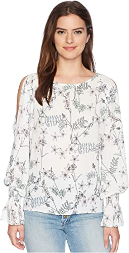 Long Sleeve Flare Cuff Cold Shoulder Botanical Floral Blouse