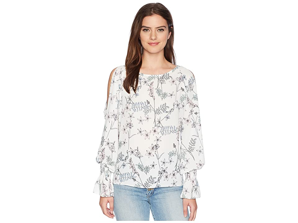 Vince Camuto Long Sleeve Flare Cuff Cold Shoulder Botanical Floral Blouse (New Ivory) Women