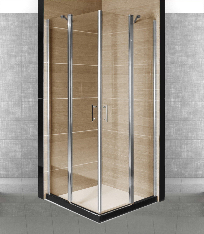 Box - cabina de ducha con dos puertas batientes de cristal transparente de 5 mm Indira. - Medidas: 80 x 80 cm.: Amazon.es: Bricolaje y herramientas