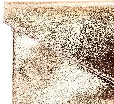 modamoda de - M106-151 - ital. Clutch Handgelenktasche Leder Metallic