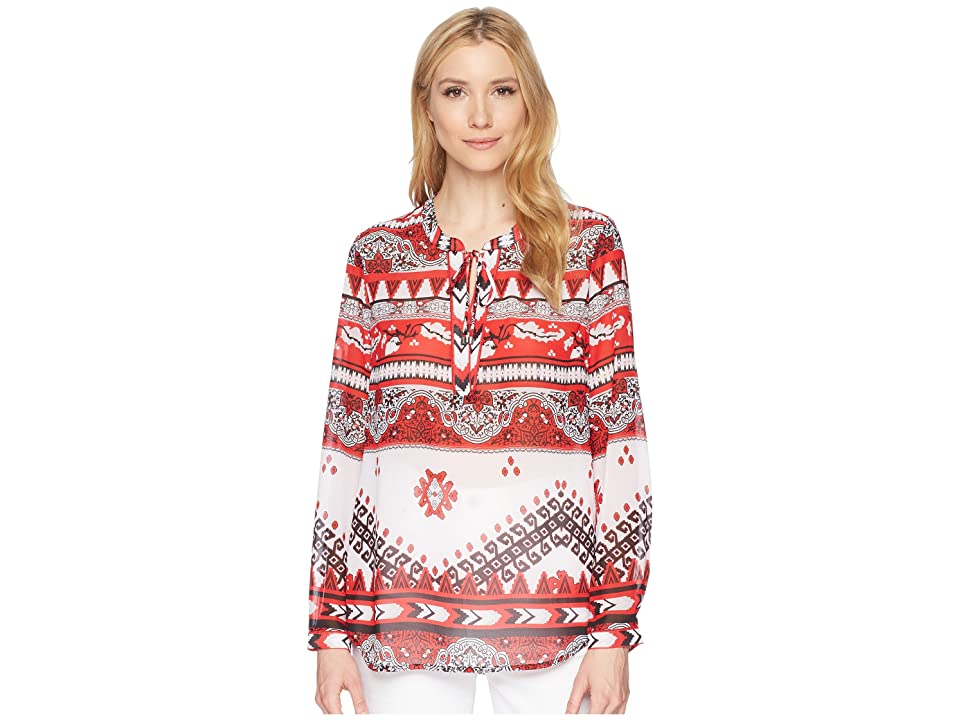 Tribal Georgette Long Sleeve Blouse with Back Gather Detail (Scarlet) Women