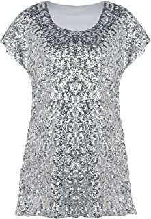 Women's Sequin Top Shimmer Glitter Loose Bat Sleeve Party Tunic Tops