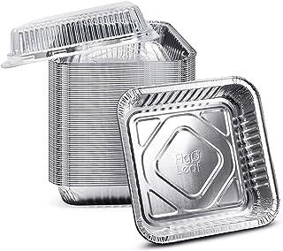 "(35 Pack) 8"" x 8"" Square Baking Cake Pans with Plastic Dome Lids | Heavy Duty l Disposable Aluminum Foil Tins l Portable F..."