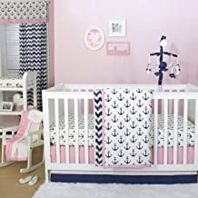 Anchor Nautical 4 Piece Baby Crib Bedding Set in Pink / Navy by The Peanut Shell