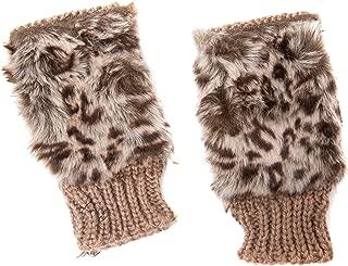 Accessoryo Women's Fingerless Gloves with Leopard Print Faux Fur Detail
