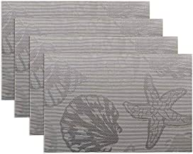 Doupoo Nautical Placemats Beach Theme, Heat Resistant Coastal Placemats for Dining Table Mats Set of 4 - Sliver Grey Rever...
