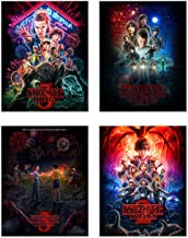 Stranger Things Poster Prints Set of 4 (11 inches x 14 inches) Season 1-2 - 3 - Eleven Dustin Lucas Mike Will Max Hopper