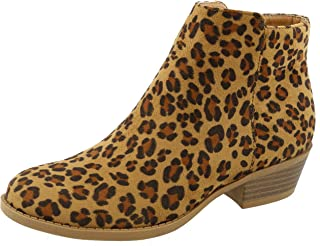 TOP Moda Women's Inside Zip Round Toe Low Block Heel Ankle Bootie (8.5 B(M) US, Leopard)