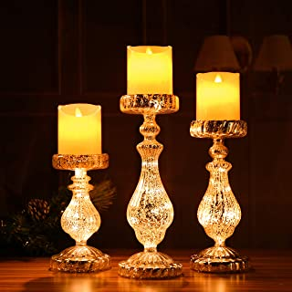 Candle Holders Set of 3 Christmas LED Handmade Glass Lighted Candle Holders Mercury Antique Silver Vintage Gift Present Ornament 3 Pieces Mouth Blown Decoration for Window Tabletop Mantel Shelf
