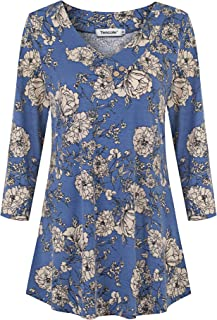 Tencole Women's 3 4 Sleeve V Neck Casual Tops Dressy Floral Buttons Tunic Blouse