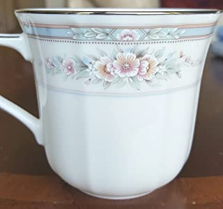 Noritake Rothschild, Tea Cups, Delicate Sprays of Pink and Light Blue Petite Roses on Ivory, Scalloped Shape, Embossed Flowers