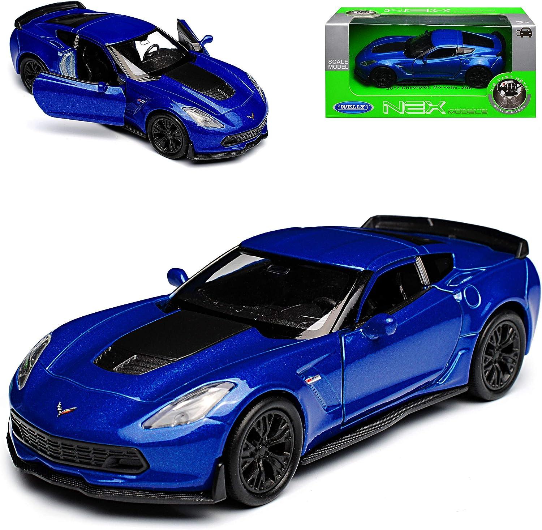 Welly Chevrolet Corvette C7 Z06 Coupe Blau mit Schwarz Ab 2013 ca 1//43 1//36-1//46 Modell Auto