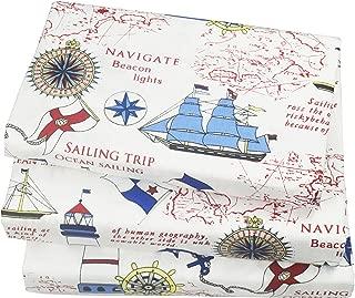J-pinno Cute Cartoon Sailboat Ocean Sea Adventure Printed Twin Sheet Set for Kids Boy Children,100% Cotton, Flat Sheet + Fitted Sheet + Pillowcase Bedding Set