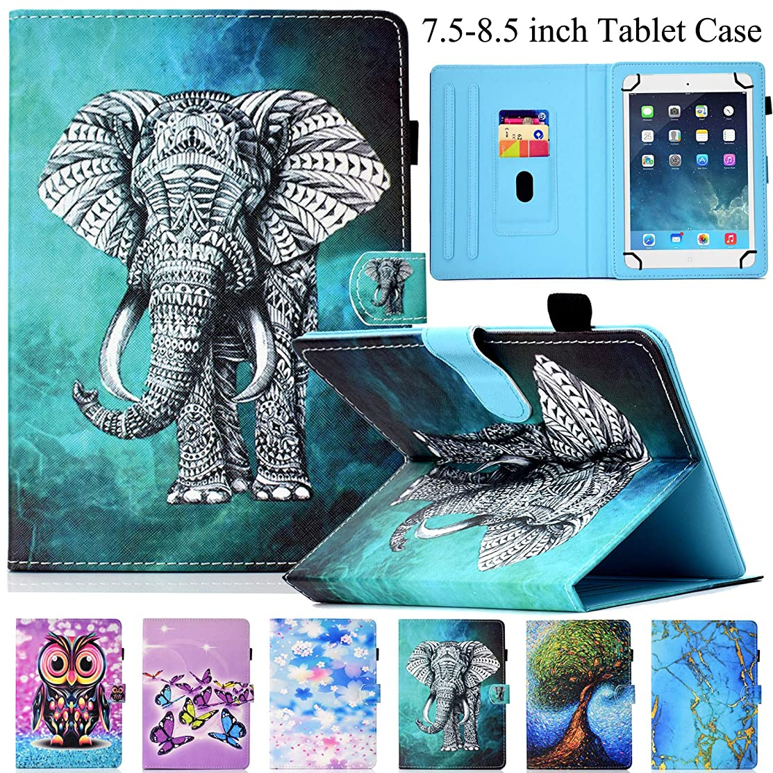 Universal Case for 7.5-8.5 inch Tablet, Artyond PU Leather Stand Cover Cards Slots Case for iPad Mini1/2/3/4,Fire HD 8,Galaxy Tab E/Tab A 8.0 & Other 7.5-8.5 inch Andriod,iOS Tablet (Gray Elephant)