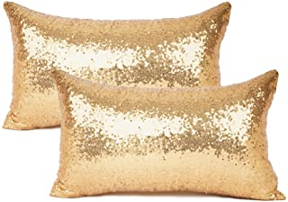 "Best YOUR SMILE Pack of 2, New Luxury Series Gold Decorative Glitzy Sequin & Comfy Satin Solid Throw Pillow Cover Cushion Case for Wedding/Christmas,12"" x 20"" Review"