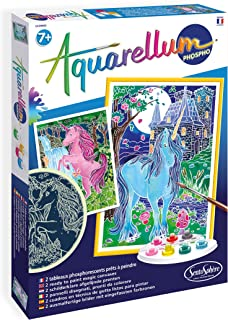 SentoSphere SEN6412 Aquarellum Glow in Dark Unicorns Magic Canvas