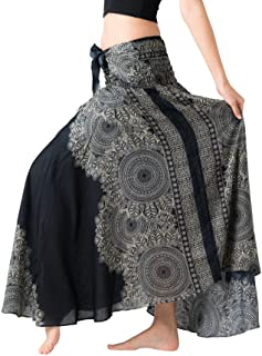 0a69e7e6df Bangkokpants Women's Long Hippie Bohemian Skirt Gypsy Dress Boho Clothes  Flowers One Size Fits Asymmetric Hem