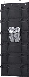 KEETDY Over The Door Shoe Rack Organizer 18 Pockets Hanging Shoe Organizer with 6 Extra Large Mesh Storage Pockets for Clo...
