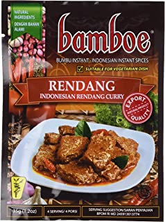 bamboe - RENDANG - INDONESIAN DRY CURRY PASTE - INDONESIAN INSTANT SPICES - 6 x 1.2 OZ /36 g - Product of Indonesia by Bamboe