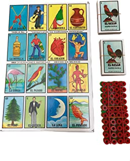 Loteria Mexican Bingo Game Kit –Set of 20 Jumbo Boards - Game for 20 Players – with 2 Decks of Cards and Boards – Includes 240 Free Markers – No Age Limit – Great for Improving Spanish