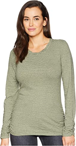 Heathered Jersey Stripe Twisted Collar Side Shirred Long Sleeve Tee