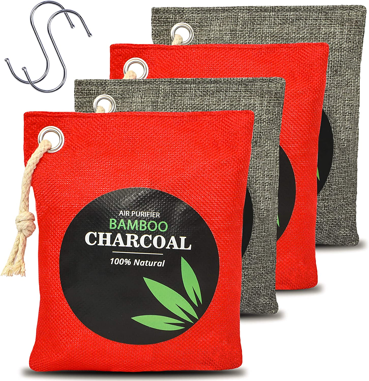 Natural Bamboo Odor Eliminator Home Air Purifying Charcoal Bags, Nature Activated Fresh Purifiers Odor Absorber Bag Pack of 4x200g