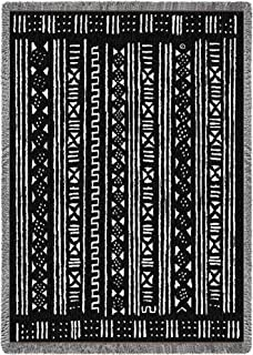 Pure Country Weavers - African Mud Cloth Design Woven Throw Blanket Cotton USA 70x50