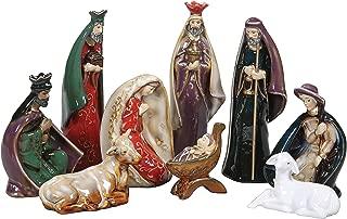 Colorful Stoneware Nativity 9pc Set - Holy Family Figurine Christmas Home Decor