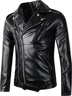 Benibos New Mens Causal Belted Design Slim Pu Leather Biker Zipper Jacket Coat